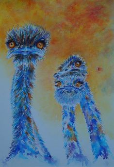 Struise struisvogels - Origineel struisvogelaquarel/schilderij Watercolor Paper, Watercolor Paintings, The Ostrich, Ostriches, Artists, Arches Watercolor Paper, Water Colors, Watercolour Paintings