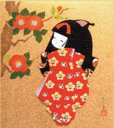 Japanese Kurumi-e Fabric (Warabe-Japanese Girls Series) - Hana Tsubaki(camellia) - Best Japan