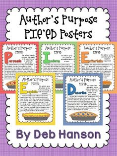 FREE Author's Purpose PIE'ED posters! (Free worksheets are also included in this blog post!)