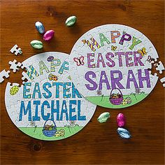 This Personalized Happy Easter Puzzle is the perfect Easter Basket Stuffer! You can personalize it with their name and for a fun new tradition, you can hide a puzzle piece in each Easter Egg for the Hunt and the first one to complete their puzzle wins an extra prize! #Easter #EasterEggHunt #EasterGame #KidsEasterGift