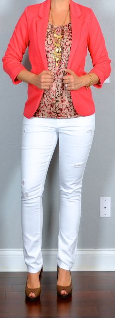 outfit post: white distressed jeans, pink pattern shell, coral jacket