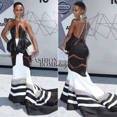 The BET Awards red carpet was stunning this year, but one woman stole the show in a black and white dress with symmetrical details. Nandi Mngoma is the rising South African singer whose red carpet … African Wedding Dress, African Print Dresses, African Print Fashion, African Fashion Dresses, African Attire, African Wear, African Women, African Dress, African Weddings