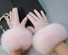 Pretty soft pink leather with fur cuff gloves for women.   Pinned by: @900ks