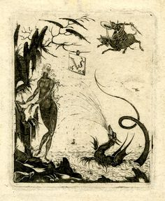 Print by Valentin Sezenius, 1624. Perseus and Andromeda, the latter chained to a rock, dragon in the sea to right; Perseus on flying pegasus arriving from the right; artist's monogram and date in a tablet hanging from the tree.