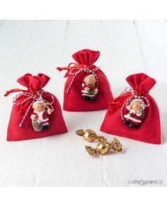 Saquito rojo con llavero de Pit y bombones para regalo de #Navidad