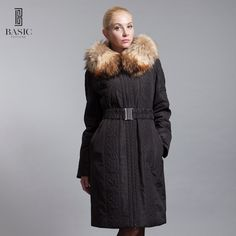 BASIC-EDITIONS New Women's Clothing Embroidered Long Parka  Fox Fur Collar Female Jacket Luxury Women Cotton Coat  D12101
