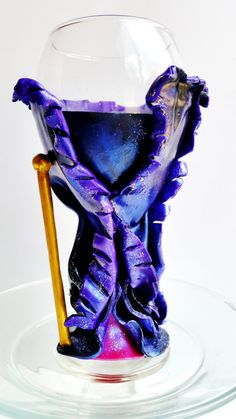 Malificent Disney Wine Glass, Polymer Clay Wine Glass. **FREE 2-Day SHIPPING within USA!!**
