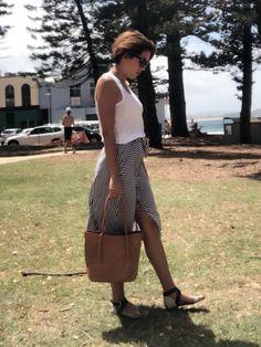 #Summer #Stripes #skirt tan #tote