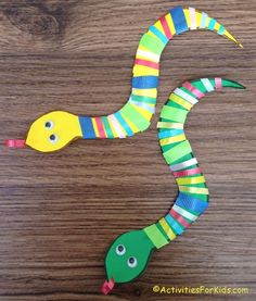 Easy and inexpensive to make, ribbon snake craft for kids for making a St. Patrick's Day craft or a Chinese New Year craft.  Also, a great for Bible study craft for Adam and Eve.  Each student can create a unique snake with colorful ribbon. Snake printable at ActivitiesForKids.com