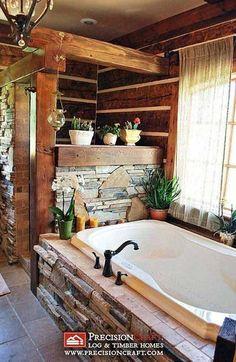 The Master Bath in this Log & Timber Hybrid Home by PrecisionCraft Log Homes & Timber Frame, via design house design Rustic Bathrooms, Dream Bathrooms, Beautiful Bathrooms, Modern Bathroom, Stone Bathroom, Luxury Bathrooms, Small Bathrooms, Log Cabin Bathrooms, Bathroom Black