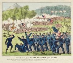The Battle at Cedar Mountain, Currier & Ives Civil War Art, Currier And Ives, American Civil War, Battle, Mountain, History, Painting, America Civil War, Historia