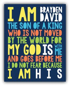 I AM HIS Son Of A King Print Christian Wall Art. Boy Or Girl Nursery Part 96