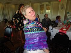 Jeri's friend Carla models the Kaleidoscope shawl I made.  June 3rd, 2018 at Nicholoas & Becca Meisch's wedding.