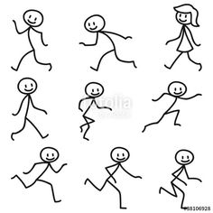 Illustration about Set of vector stick figures: Happy stick man walking and running. Illustration of smiling, stick, walking - 38950966 Doodle Drawings, Cartoon Drawings, Easy Drawings, Doodle Art, Drawing For Kids, Art For Kids, Stick Figure Drawing, Stick Man, Doodles
