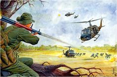 RPG-7 rocket being launched by a member of the Viet Cong against a helicopter Bell UH-1B Huey a company of Assault Aeromobil.