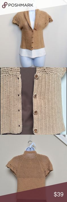Anthropologie Tan Short Sleeve Cardigan, S Short sleeve tan cardigan from Moth brand for Anthropologie in size small.  This adorable and cozy piece features four gold buttons (see close up picture!) and a crochet-like design.  Piece is in good used condition. *Please note that the cream colored undershirt is not included in this purchase.  It was only used for the photos. Anthropologie Sweaters Cardigans