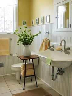 yellow cottage bathroom with white beadboard - bathroom Character Home, Yellow Bathrooms, Shabby Chic Bathroom, Beadboard Bathroom, Cottage Bathroom, Interior, White Beadboard, Home Decor, New Homes