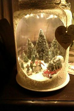 a Christmas lantern with a winter scene, people, snowmen, a car and lots of trees - Kerst ideeën, Kerstmis en Kerst knutselen Christmas Scenes, Christmas Love, Winter Christmas, Vintage Christmas, Vintage Winter, Christmas Lanterns, Christmas Mason Jars, Christmas Ornaments, Christmas Projects