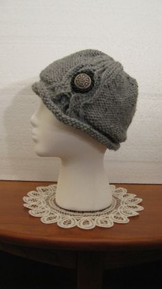 Knitted Hat With Vintage Button Trim for Women See other hats and patterns on Etsy at NeedleLoveKnits