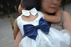 Navy Blue Lace Flower Girl Dress White Country by cuteflower99, $39.99