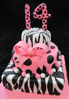 Zebra Cake Padme wants this cake Elegant Birthday Cakes, 13 Birthday Cake, Sweet 16 Birthday, Just Cakes, Cakes And More, Pink Zebra Cakes, Fondant, Teen Cakes, Cool Cake Designs