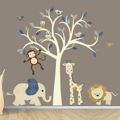 Cream Tree Decal Nursery Wall Decal Safari by StickItDecalDesigns