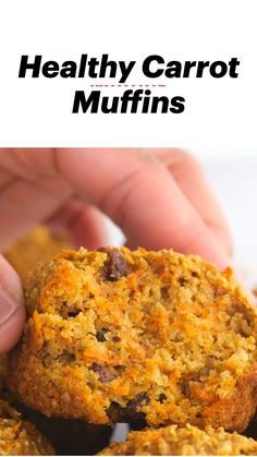 Healthy Carrot Muffins, Healthy Muffin Recipes, Carrot Recipes, Healthy Treats, Yummy Recipes, Cake Recipes, Breakfast Recipes, Yummy Food, Vegetarian Desserts