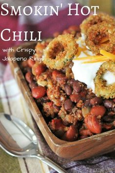 Smokin' Hot Chili with Crispy Jalapeno Rings. #fallfest