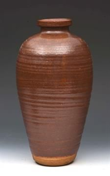 Lot 21 - William Staite Murray (British, 1881-1962) Vase, red/brown glaze impressed potter`s seal incised `