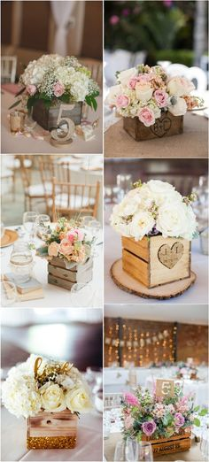 Rustic Wood Box Wedding Centerpieces #weddings #rusticwedding #centerpieces #weddingideas