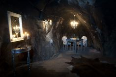 Sala Silver Mine Hotel in Sala, Sweden. This hotel has only one room - The Mine Suite - situated in what used to be an operating silver mine. Underground Hotel, Underground Living, Cave Hotel, Unusual Hotels, Hotel Suites, Futurism, Best Hotels, Amazing Hotels, Stockholm