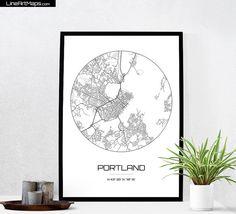 Portland Map Print  City Map Art of Portland Maine by LineArtMaps