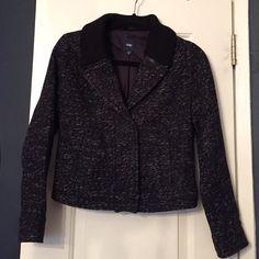 Gap Tweed Jacket Blue tweed with knit collar detail. Front pockets. Snap closure. Cozy and cute! GAP Jackets & Coats