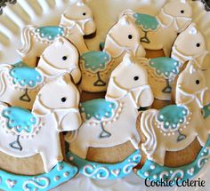 Rocking Horse Cookies Decorated Sugar Cookies Baby Shower Cookie Favors. $28.00, via Etsy.