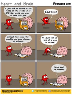 Heart and Brain think about the best thing to bring along during a survival situation.  The awkward yeti comic strips Funny stuff on coffee