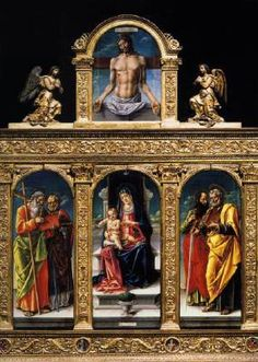 Enthroned Madonna and Child with Saints Andrew and Nicholas of Bari, Paul and Peter by Bartolomeo Vivarini in Basilica dei Frari, Venice. Venice Travel Guide, Assumption Of Mary, Acadie, Web Gallery Of Art, St Peters Basilica, Renaissance Paintings, European Paintings, Madonna And Child, Italian Renaissance
