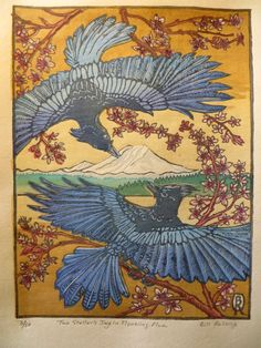 """Stellar's Jay in Flower Plum"" - by Bill Reiswig, 8-color woodcut on Masa paper."
