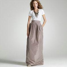 Taupe Taffeta maxi skirt