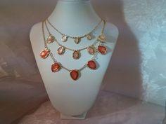 Coral triple tier necklace
