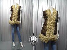 Vintage 60s 70s Shearling Vest Embroidered Afghan by ZeusVintage