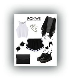 """Romwe:Black Shorts,"" by freida-adams ❤ liked on Polyvore"