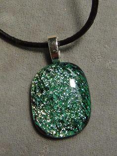 green sparkle pendant, ocean dichroic fused glass 47 #Handmade #Pendant