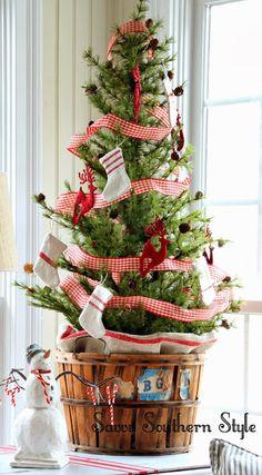 Savvy Southern Style: Christmas sunroom, vintage orchard basket, Balsam Hill tree, grain sack stockings