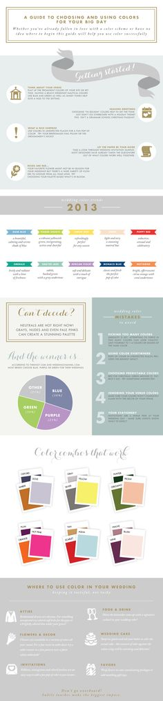 A guide to choosing and your wedding colors! An infographic guide to wedding color palettes from Dear LC #weddings www.dearlc.com