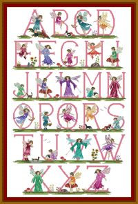 Cross Stitch Fairy alphabet for Beth's kids one day lol guarantee it will be on there walls lol :)