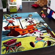Amazing Tapis Chambre d uEnfant Pirates Multicolore Rouge Vert Bleu Blanc Dimension x cm online kaufen bei Kinder SpielzimmerTeppich