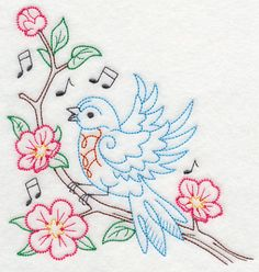 Singing Bluebird on Branch 1 (Vintage) design (K9114) from www.Emblibrary.com