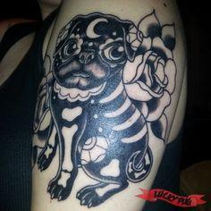 Work in Progress - Day of the Dead Themed Luna the Pug - Tattooed by Matt Brotka at Salvation Tattoo