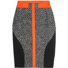 Antonio Berardi Leather-trimmed bouclé and crepe skirt (€445) ❤ liked on Polyvore featuring skirts, bottoms, saias, orange, black, neon skirts, knee length skirts, orange skirt, crepe skirt and knee high skirts