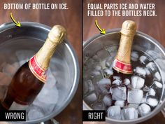 You're drinking your alcohol warm instead of chilling it in a salt and ice bath for 10 minutes: fill a bucket with equal parts ice and water add some salt and place your bottle in the bucket up to its neck.